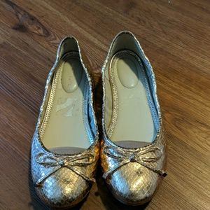 Marc Fisher gold snake ballet flats
